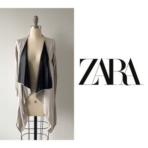 Zara Beige Cardigan w/Vegan Leather